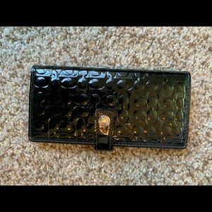 Coach black patent leather wallet check book cover